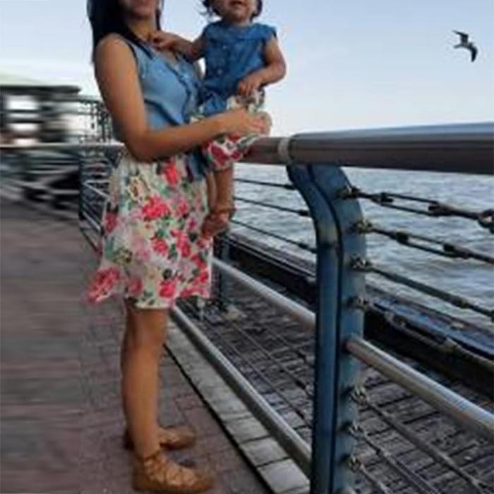 Parent-child Splicing Printed Colour Dress