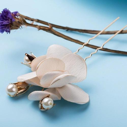 White Flower Bridal Hair Pins Pearl Hair Sticks Wedding Hair Accessories