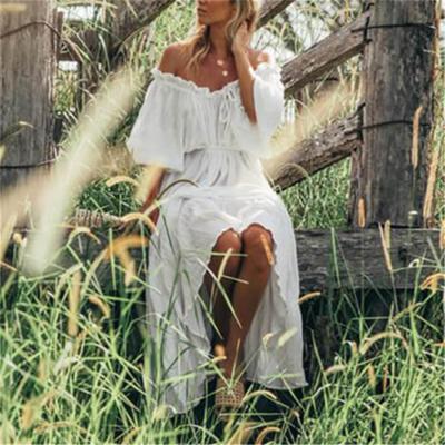 Maternity Off-The-Shoulder Plain Vacation Maxi Dress