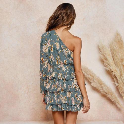 Maternity Sloping Shoulder Long Sleeve Floral Printed Layered Dress