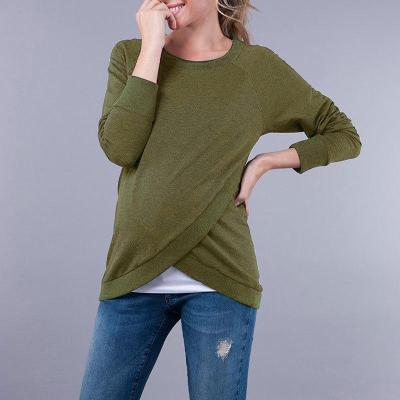 Pregnant Women's autumn and winter lactation sweater solid color long sleeves Tops