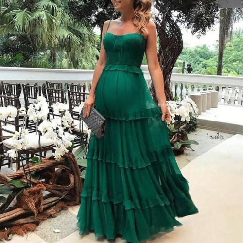 Maternity Sexy Solid Color Splicing Sling Maxi Dress