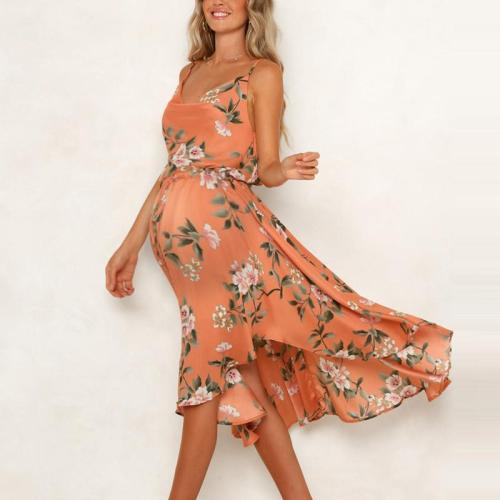 Maternity Sexy sling V-neck drawstring waist bow irregular dress