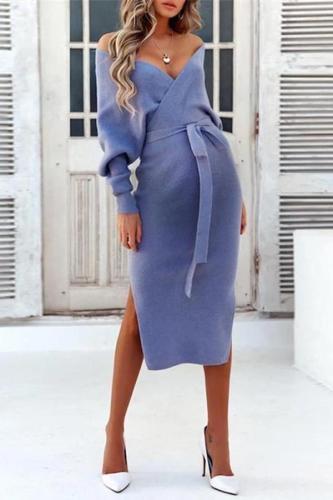 Maternity Fashion Pure Color Tie Slit Dress