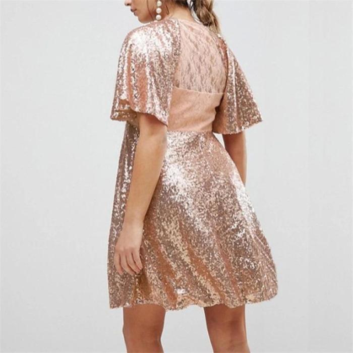 Maternity Sexy V-neck Sequin Dress