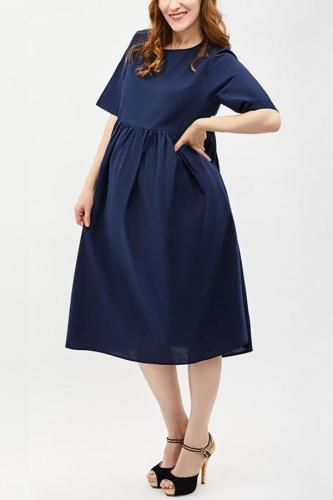 Maternity Round Neck  Plain  Cotton/Linen Maxi Dress