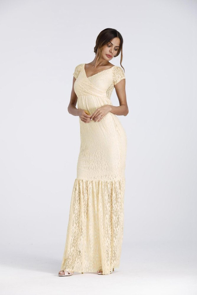 Lady Maternity Beach Clothing V Neck Evening Ball Gown
