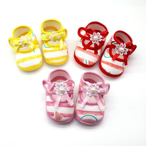 Newborn Baby Girls Watermelon Printing Prewalker Soft Sole Single Shoes