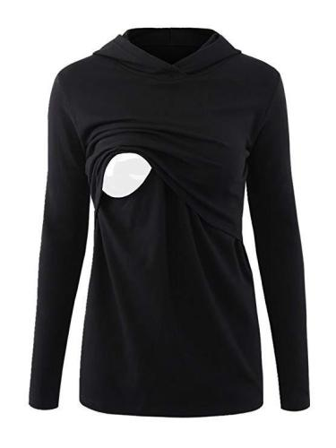 Long-sleeved Breast-feeding Jacket Casual Hoodie T Shirt