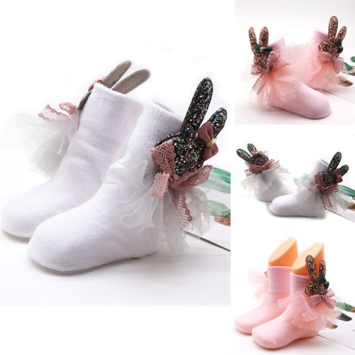 Rabbit Socks Toddler Girls Non-slip Socks Stockings Net Yarn Bowknot Rabbit Terry Socks