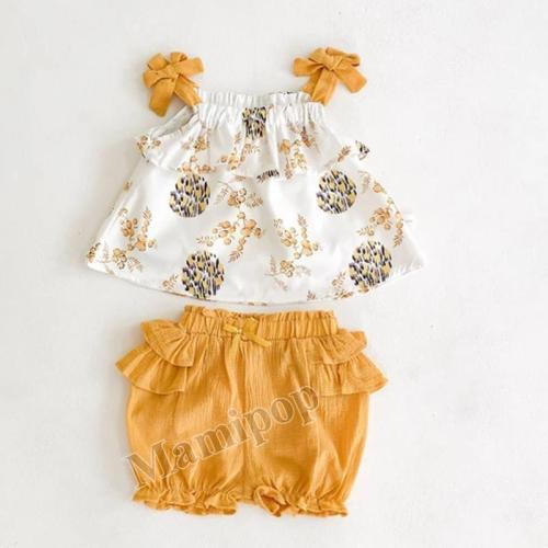 2020 Summer Women's Sleeveless Bow Suspender Top + Lotus leaf Pants 2 Sets