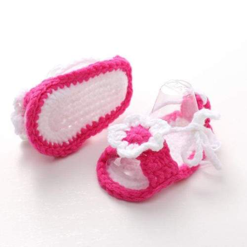 Pink Girls Handmade Crochet Knit Sandals Booties Summer Shoes