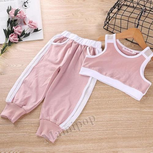 2020 Summer Children's Sports Set  GirlS Vest Pants Two-piece Set