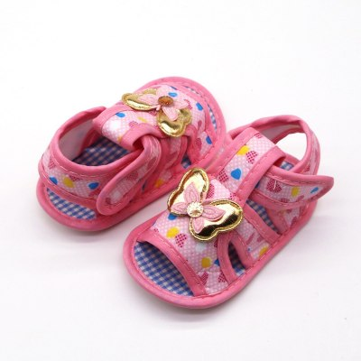 Newborn Baby Girls Printing Butterfly Prewalker Soft Sole Single Shoes Applique Toddler Buckle Shoes