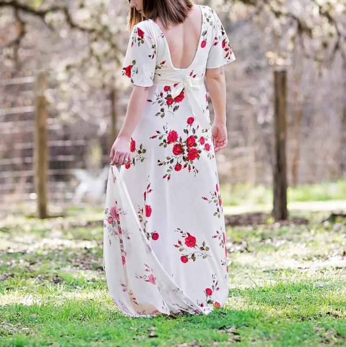 Maternity Flowers Print Dress