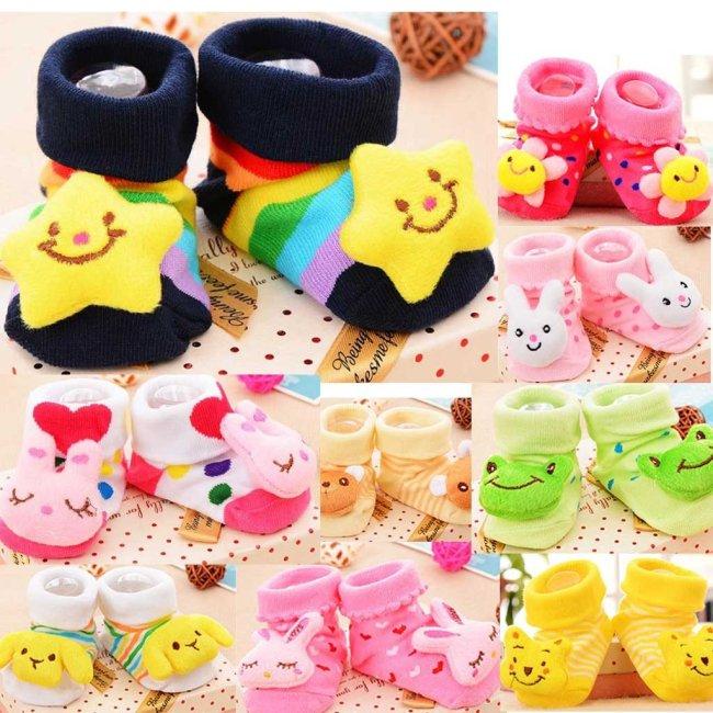 0-12m 3d Cartoon Printed Newborn Baby Girls Boys Socks Slipper Shoes Boots Cotton Short Socks