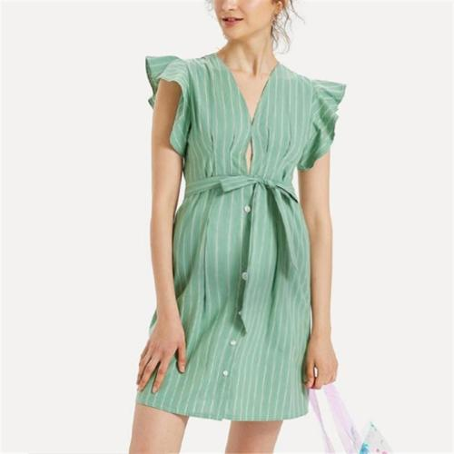 Maternity Women's V-Neck Ruffled Striped Dress