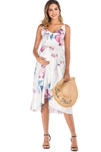Lotus leaf ink condole belt loose irregular printing loose pregnant woman dress