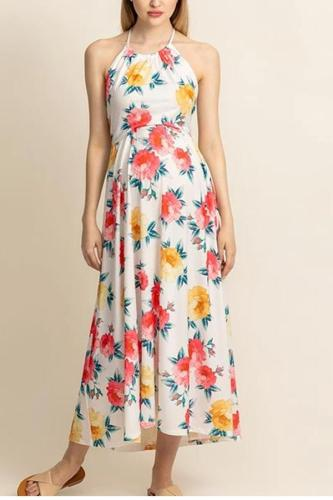 Maternity Sexy Belted Printed Ankle-Length Dress