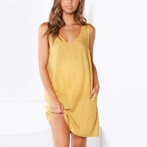 Maternity V-Neck Solid Color Dress