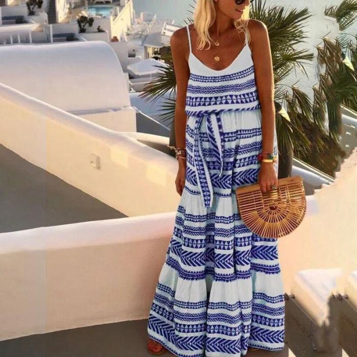 Maternity Boho Deep V Neck Print Halter Dress