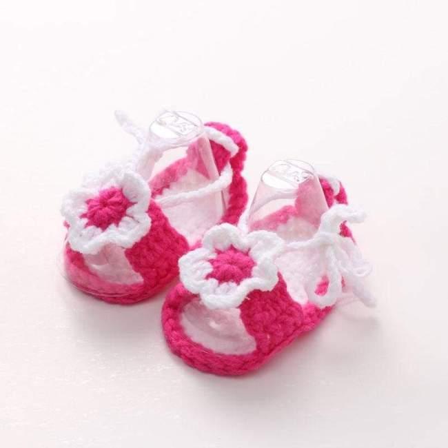 Pink Girls Handmade Crochet Knit Sandals Booties Summer Shoes