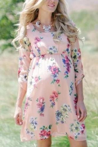 Maternity Sweet Printed Color Round Neck Bracelet Sleeve Dress
