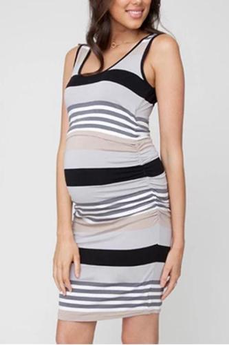 Sleeveless Maternity Striped Nursing Dress