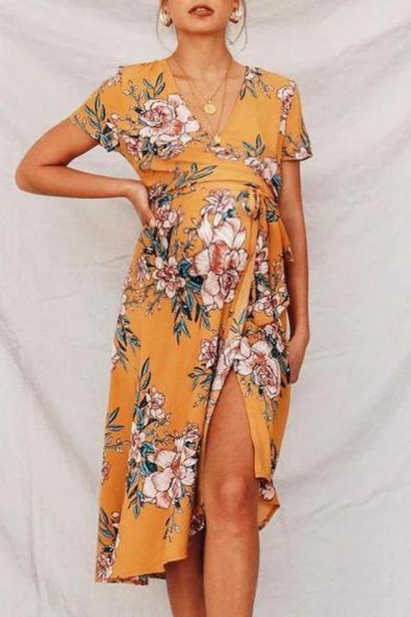 Maternity Plant Short Sleeve Dress