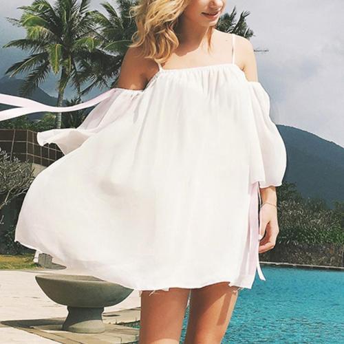 Maternity Plain Spaghetti Strap Beach Blouse Dress