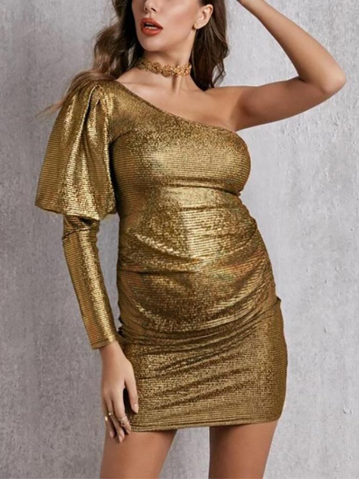 Maternity Sexy Solid One Shoulder Puff Sleeve Dress