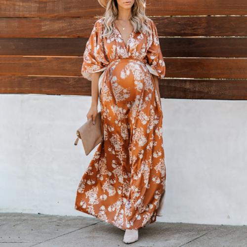 Maternity Bohemian V-neck Half-sleeve Printed Dress