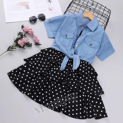 2020 girls spring and summer wear new sling wave spot skirt denim shawl two sets