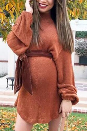 Maternity Sexy V-neck Tie Tight-Knit Dress