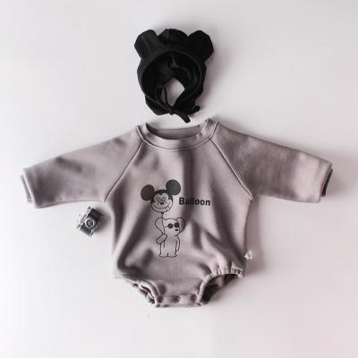 Boys and Girls Bears Farts Baby Long-sleeved Conjoined Climbing Clothes and Velvet Thickening