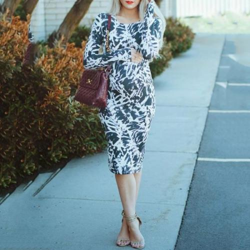 Maternity Commuter Style Tie-dyed Round Neck Slim Dress