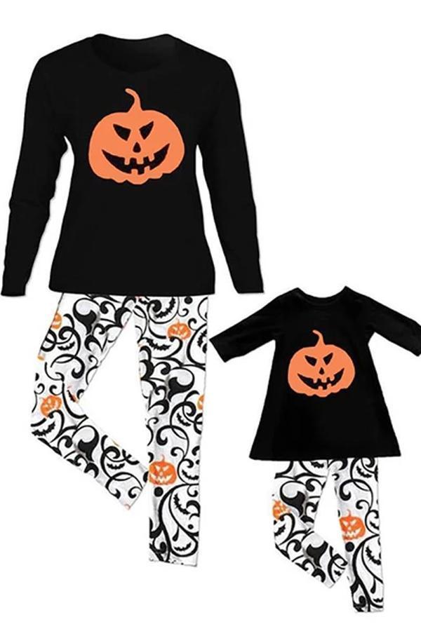 Casual Halloween Pumpkin Pattern Parent-child Home Service Suit