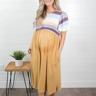Maternity Commuting Striped Pure Color Short Sleeve Dress
