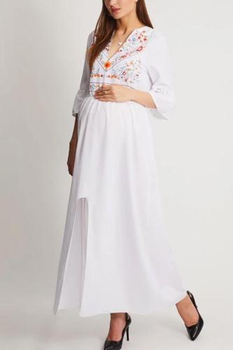 Maternity Deep V Neck Printed Maxi Dress