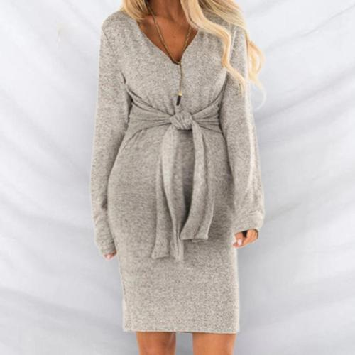 Maternity Lace-Up Long-Sleeved V-Neck Dress