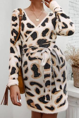 Maternity fashion temperament leopard V-neck dress