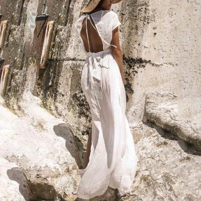 Maternity Pure Color V-Collar Short-Sleeved Open Back Beach Skirt