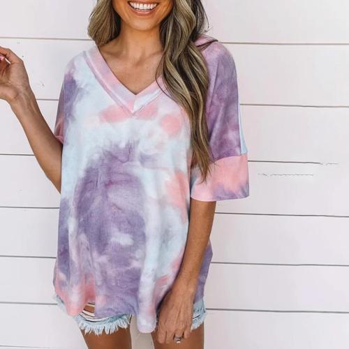 Tie Dye Print V-neck Casual T-shirt