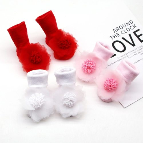 Baby Infant Socks Flower Gauze Toddler Kid Baby Girls Socks Stockings Net Yarn Non-slip Socks