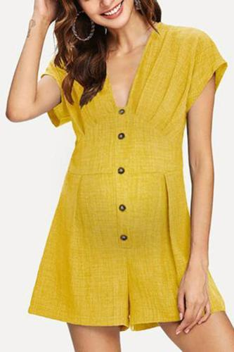 Maternity Solid Color Button Dress