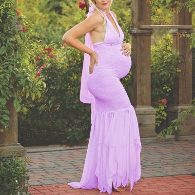 Maternity Halter V-Neck Photoshoot Gowns
