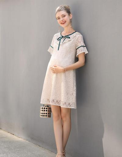 Pregnant Women Summer High Fashion O Neck With Bow