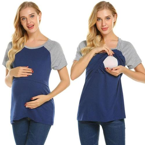 Color Matching Pregnant Women's Short Sleeve Top Round Neck Nursing Clothes