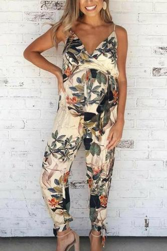 Maternity Spaghetti Strap Printing Loose Jumpsuit