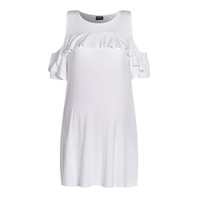 Off-the-Shoulder T-Shirt  Short Sleeve Ruffles Casual Loose Cotton Maternity Tops